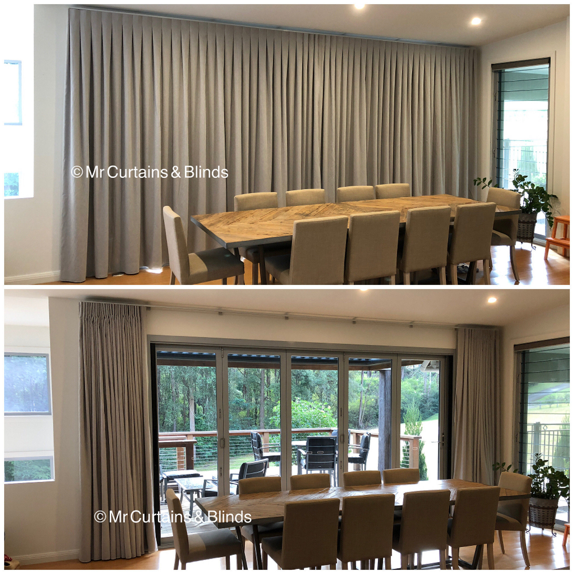 Reverse pleat curtains Mr Curtains and Blinds Central Coast