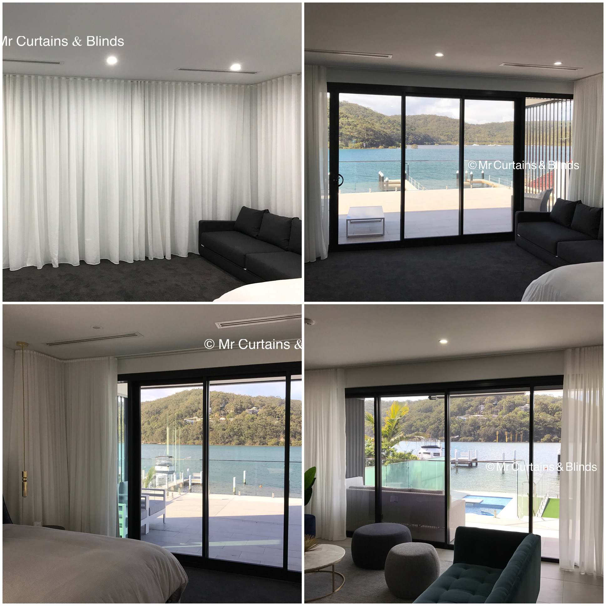 Sfold sheer curtains with blockout lining Booker Bay by mr curtains and blinds