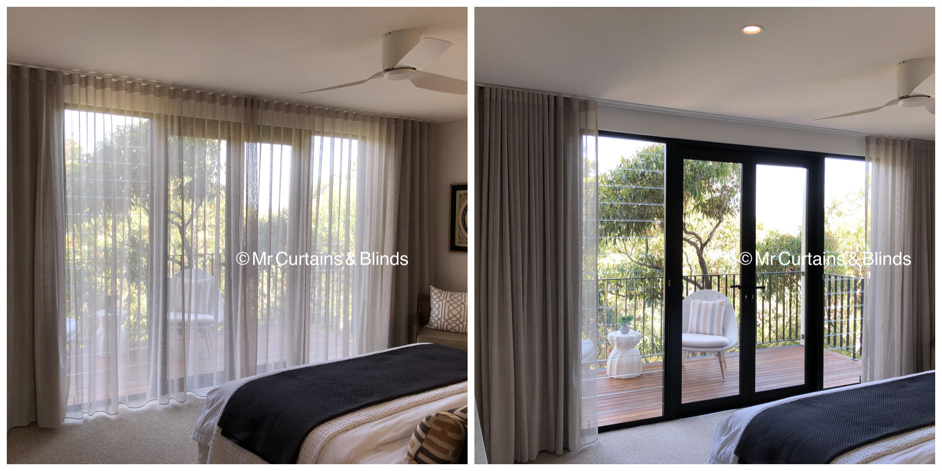 Wave Fold Sheer Curtains and Blockout Curtains Mr Curtains and Blinds