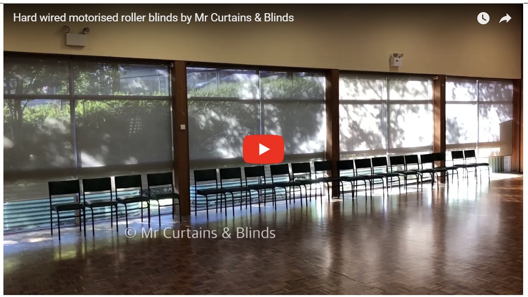 Hard wired motorised roller blinds at a Gosford community centre