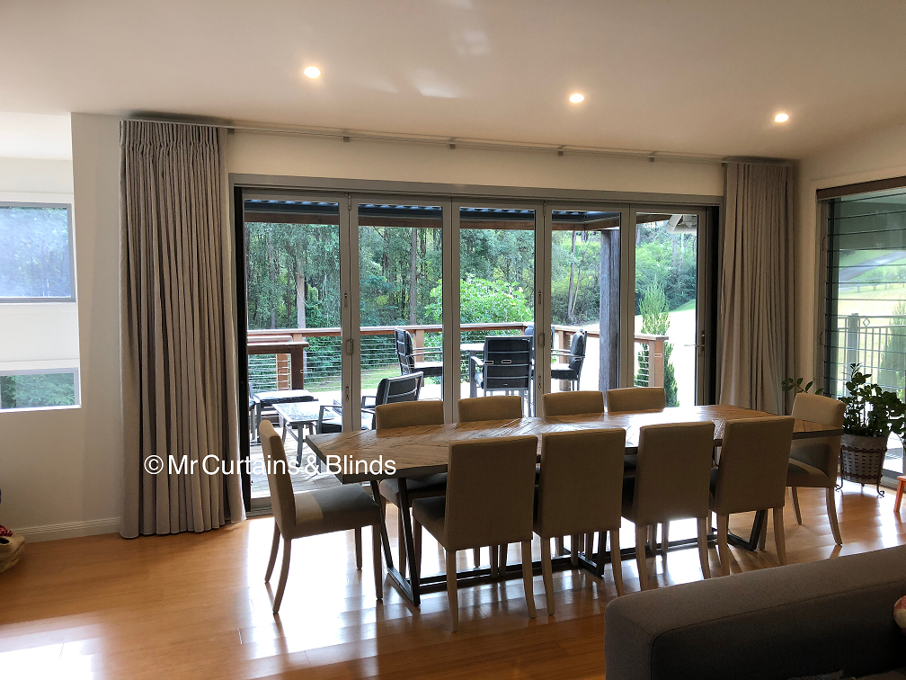 Beautiful pleated curtains on a sleek platinum track Erina Heights1