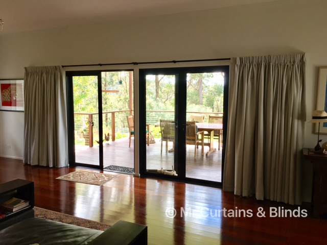 Double Pinch Pleat Lined Drapes Yarramalong home using Warwick fabrics Harper