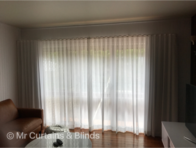 Double Sfold Sheer curtain and blockout lining Terrigal home using Charles Parsons Capri White