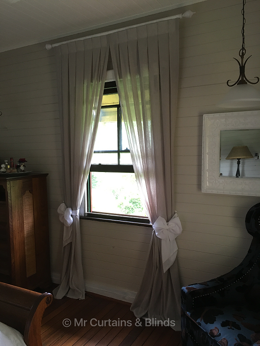 Inverted pleat sheer curtains on decorator rod Yarramalong home fabric Capri by Charles Parsons