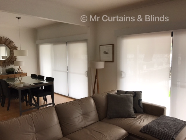 Motorised translucent roller blinds with painted timber pelmets Woy Woy Bay
