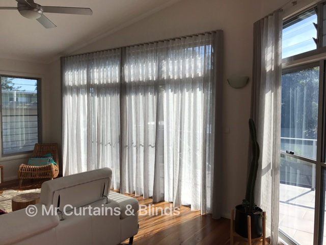 S Fold Sheer Curtains in Charles Parsons Capri at Norah Head