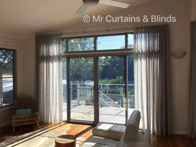 S Fold Sheer Curtains in Charles Parsons Capri at Norah Head NSW 2263