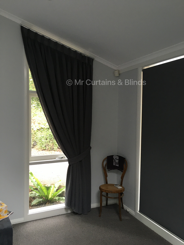Sloped Cathedral window Blockout lined sheer curtains Wahroonga home fabric Caracus by Charles Parsons
