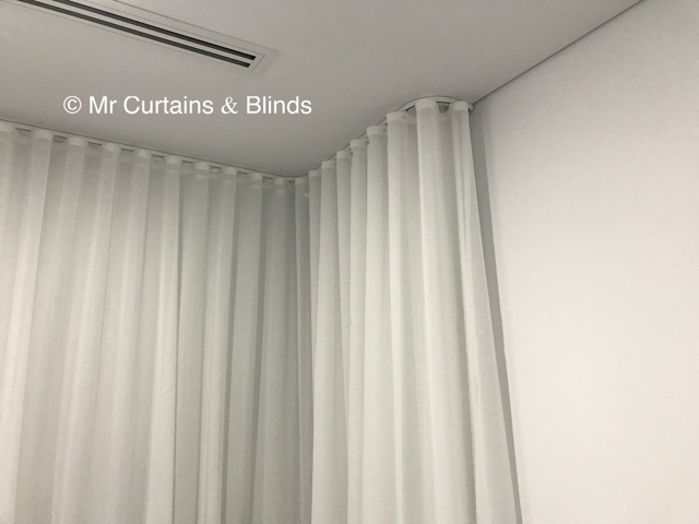 Custom bent ceiling fixed Sfold Curtains Central Coast Curtains